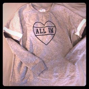 """Old Navy """"All In"""" Heart Sweatshirt stripe detail"""
